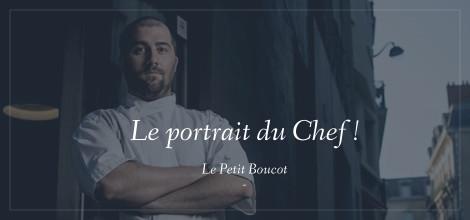 Le Chef Frédéric devant le restaurant Le Petit Boucot